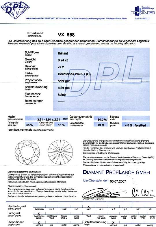 Foto 9, Diamant 0,245ct Brillant Beste Farbe River D DPL Juwel!, D5002