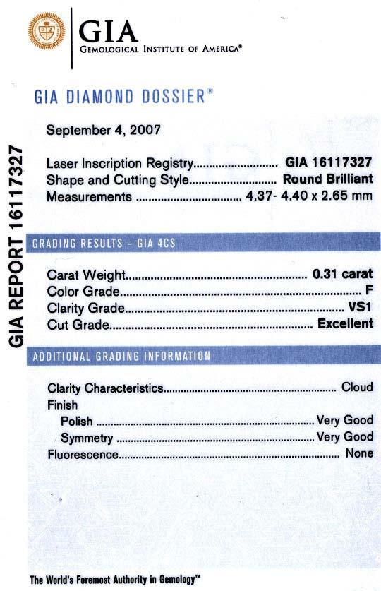 Foto 8, Diamant 0,3 F VS1 GIA Laser Inscription Registry Juwel!, D5007