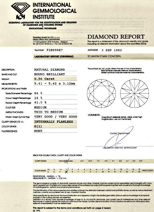 Foto 9, Diamant 0,56Carat IGI Lupenrein Top Wesselton VG Juwel!, D5010