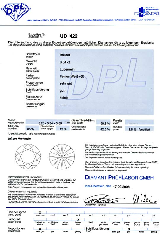 Foto 9, 0,547ct Brilliant DPL If Lupenrein Top Wesselton Juwel!, D5013