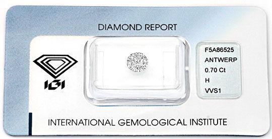 Foto 1, Diamant 0,70ct Brillant IGI fast Lupenrein Weiss Juwel!, D5014