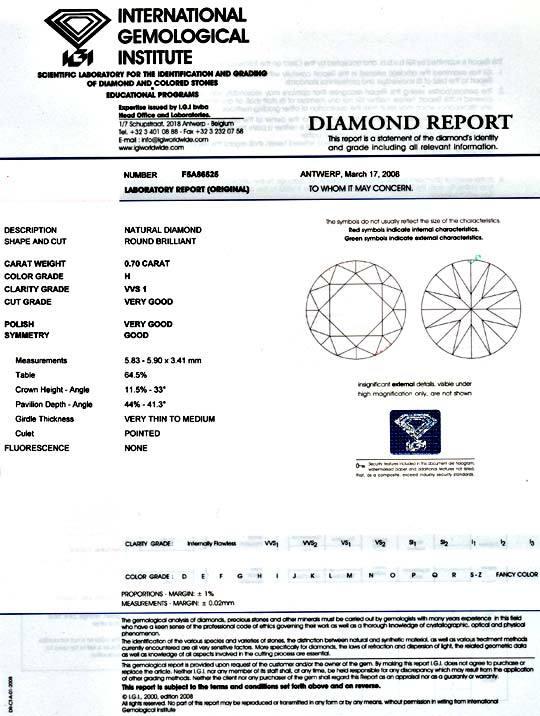 Foto 9, Diamant 0,70ct Brillant IGI fast Lupenrein Weiss Juwel!, D5014