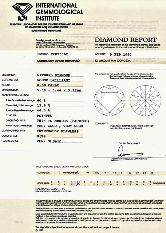Foto 9, Diamant 0,6 Brilliant IGI Lupenrein Wesselton VG Juwel!, D5015