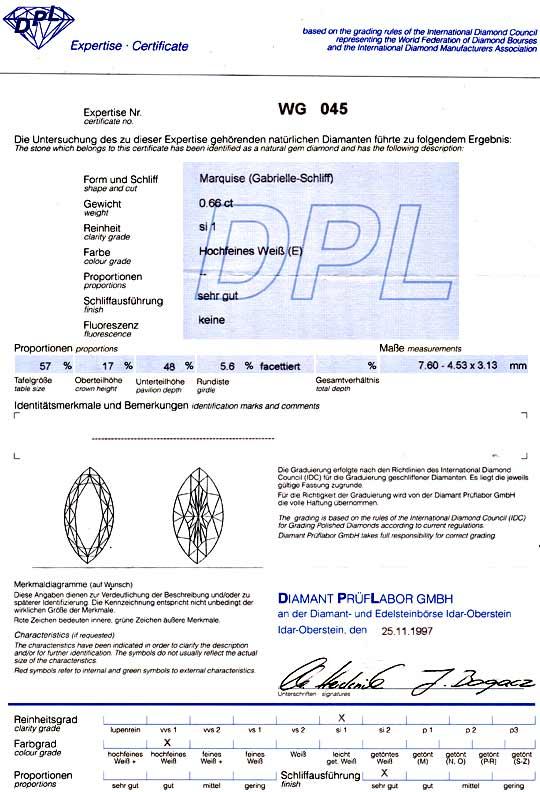 Foto 9, Diamant 0,66 Marquise Navette Schliff, DPL River Juwel!, D5021