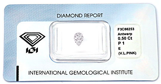 Foto 1, Diamant 0,50ct River Very Light Pink Tropfen IGI Juwel!, D5022
