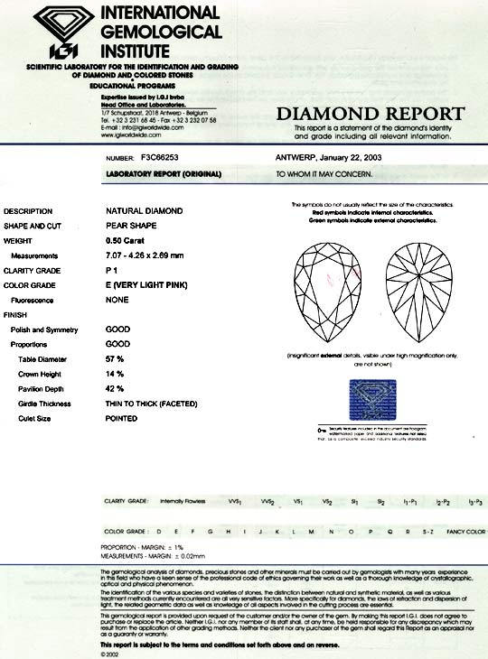 Foto 9, Diamant 0,50ct River Very Light Pink Tropfen IGI Juwel!, D5022