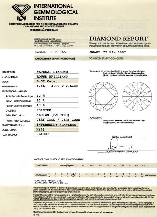 Foto 9, Diamant 0,32 Brillant IGI Lupenrein Wesselton VG Juwel!, D5023