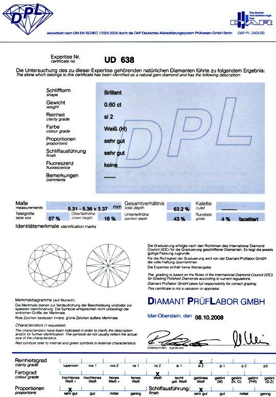 Foto 9, Diamant 0,60ct Brillant DPL Wesselton Weiss VGVG Juwel!, D5026