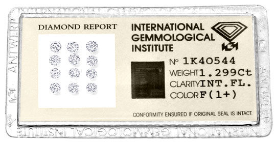 Foto 1, Diamanten 1,299 Carat Brillanten IGI F Lupenrein Juwel!, D5030