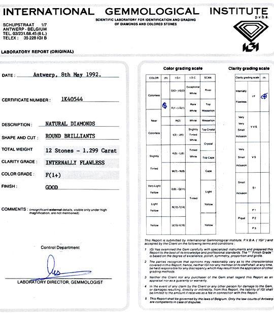 Foto 9, Diamanten 1,299 Carat Brillanten IGI F Lupenrein Juwel!, D5030