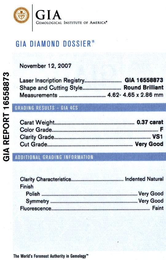 Foto 8, Diamant 0,37 F VS1 Very Good GIA Laser Inscribed Juwel!, D5035