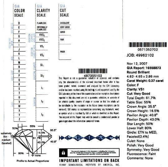 Foto 9, Diamant 0,37 F VS1 Very Good GIA Laser Inscribed Juwel!, D5035