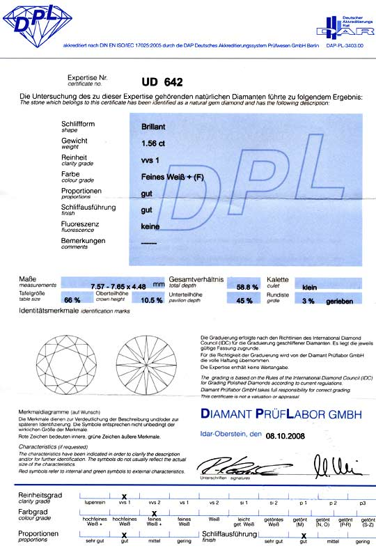 Foto 9, Diamant 1,56ct Brilliant DPL Top Wesselton Plus Diamond, D5039
