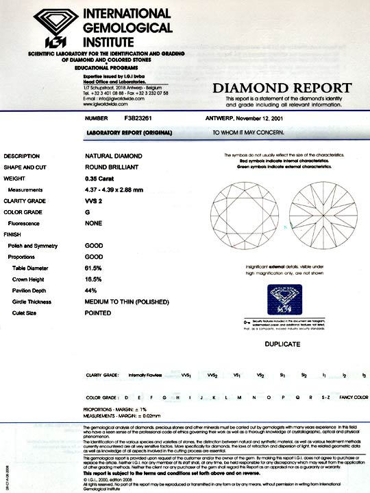 Foto 9, Diamant 0,35 ct Brilliant IGI Top Wesselton VVS2 Juwel!, D5041