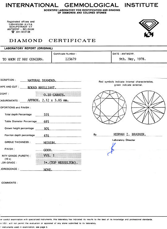 Foto 9, Diamant 0,2ct Brillant IGI Top Wesselton Plus VVS1 Shop, D5053