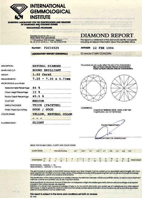 Foto 9, Diamant 1,62 Brilliant IGI Expertise Yellow SI1 Diamond, D5056