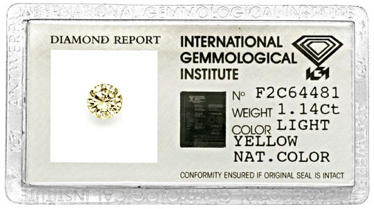 Foto 1 - Diamant 1,14 Brillant IGI Gutachten Light Yellow Juwel!, D5057