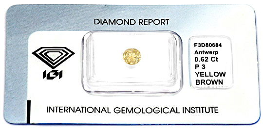 Foto 1, Diamant 0,62 ct Brilliant IGI Natural Yellow Brown Shop, D5059