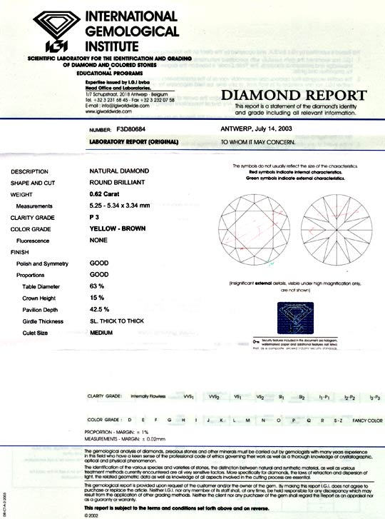 Foto 9, Diamant 0,62 ct Brilliant IGI Natural Yellow Brown Shop, D5059