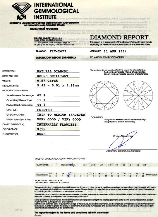 Foto 9 - Diamant 0,57ct IGI Lupenrein Top Wesselton VG VG Juwel!, D5062