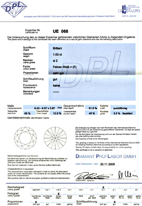 Foto 9, Diamant 1,03ct Brillant DPL Top Wesselton Plus F Juwel!, D5063