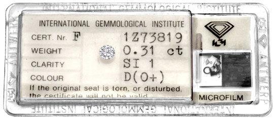 Foto 1 - Diamant 0,31ct Brilliant Beste Farbe River D IGI Juwel!, D5068