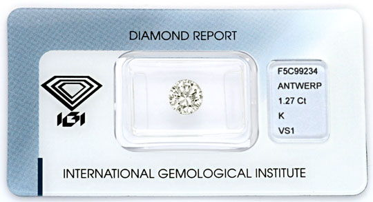 Foto 1, Diamant 1,27ct Brillant VS1 IGI, Super Brillanz Diamond, D5070