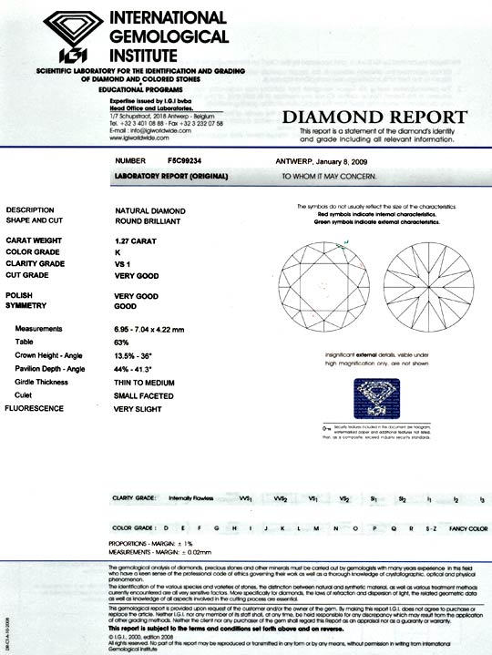 Foto 9, Diamant 1,27ct Brillant VS1 IGI, Super Brillanz Diamond, D5070