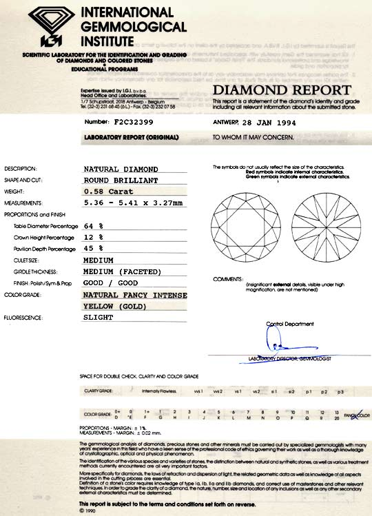 Foto 9, Diamant 0,58ct Natural Fancy Intense Yellow Gold Juwel!, D5073
