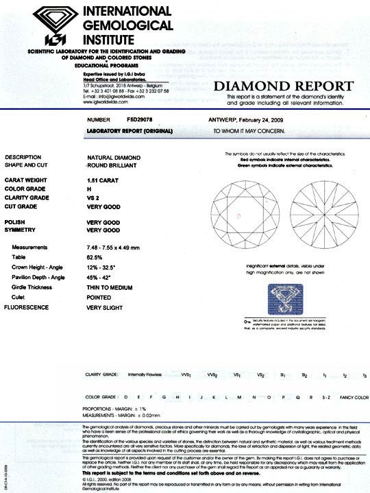 Foto 9, Diamant 1,51ct Brillant IGI Wesselton VS2 VG VG Diamond, D5074