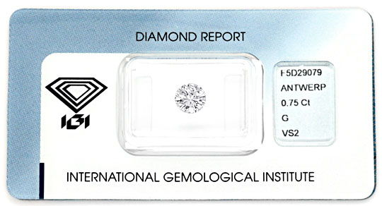Foto 1, Diamant 0,75Carat Brillant IGI Top Wesselton VS2 Juwel!, D5075