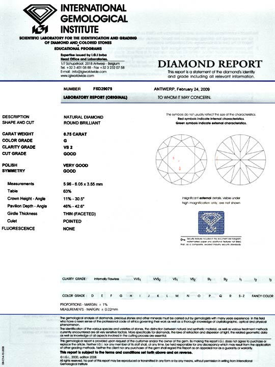 Foto 9, Diamant 0,75Carat Brillant IGI Top Wesselton VS2 Juwel!, D5075