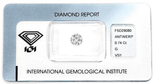 Foto 1 - Diamant 0,74 Carat Brillant IGI feines Weiss VS1 Juwel!, D5076