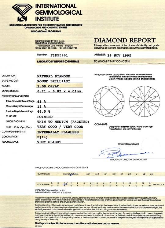 Foto 9, 1,09ct Diamant IGI Lupenrein Top Wesselton F VG Diamond, D5079