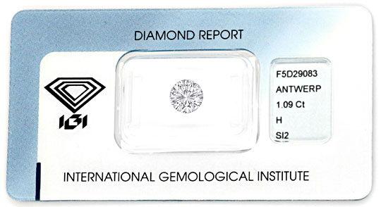 Foto 1 - Einkaräter 1,09 ct Diamant IGI Brillant Weiss SI Juwel!, D5081