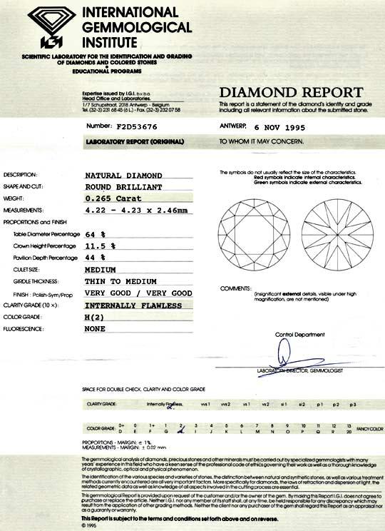 Foto 9 - Diamant 0,265ct Brillant IGI Lupenrein Wesselton Juwel!, D5083