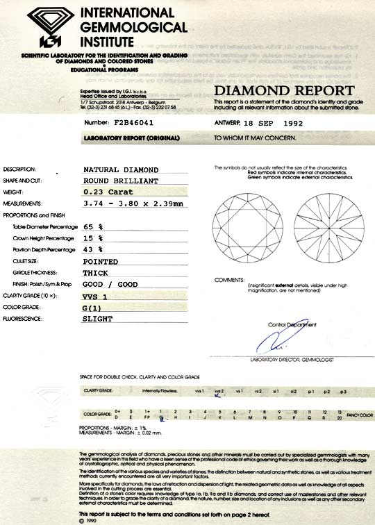 Foto 9, Diamant 0,23 ct Brilliant IGI VVS1 Top Wesselton Juwel!, D5086