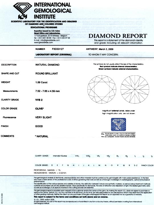 Foto 9, Diamant 1,59ct Olive Hellgrün Brillant VVS2 IGI Diamond, D5088