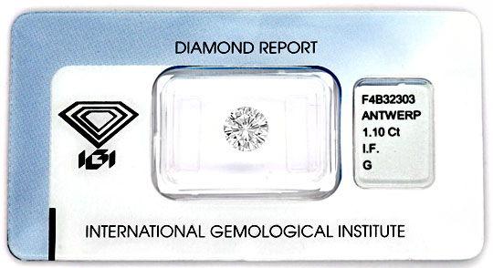 Foto 1 - Einkaräter Top Wesselton Lupenrein IGI sehr gut Diamond, D5096