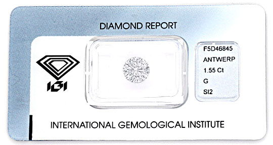 Foto 1, RIESENDIAMANT 1,55ct BRILLANT IGI TOP WESSELTON DIAMOND, D5108