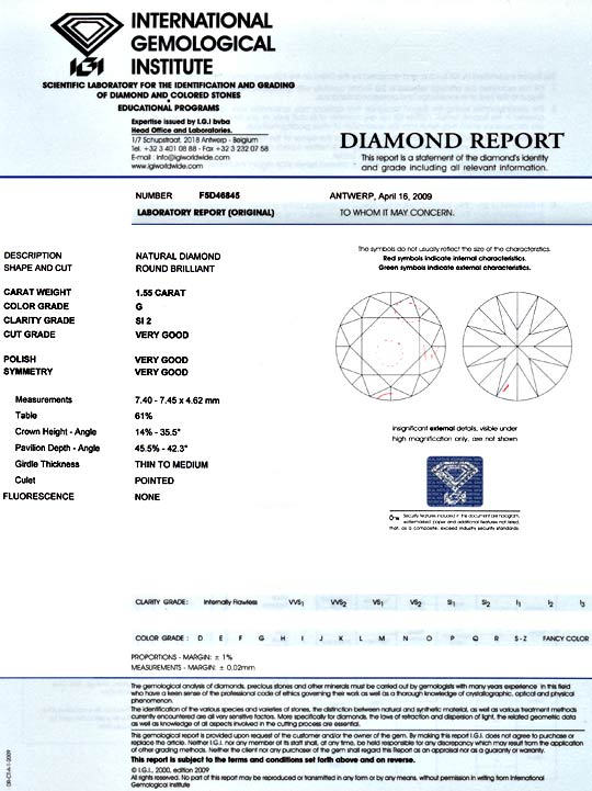 Foto 9, RIESENDIAMANT 1,55ct BRILLANT IGI TOP WESSELTON DIAMOND, D5108