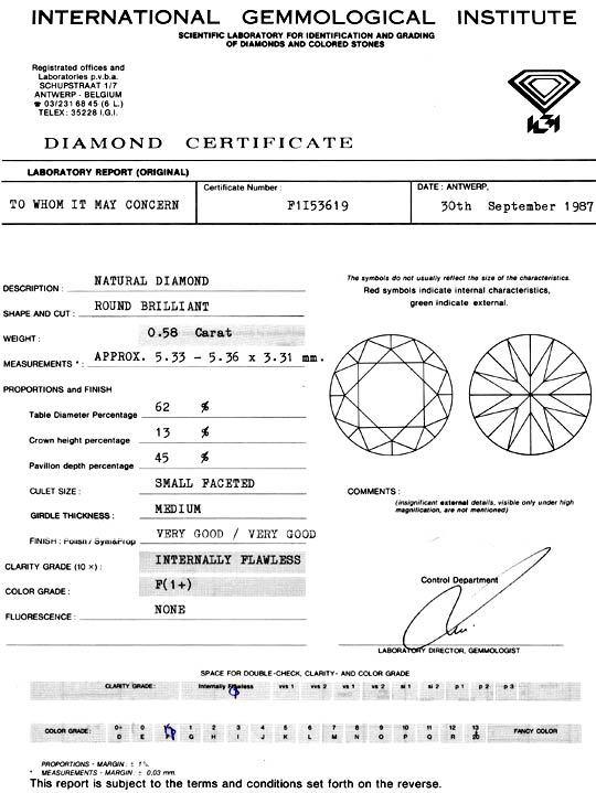 Foto 9 - Diamant 0,58ct IGI Lupenrein Top Wesselton F 2VG Juwel!, D5110