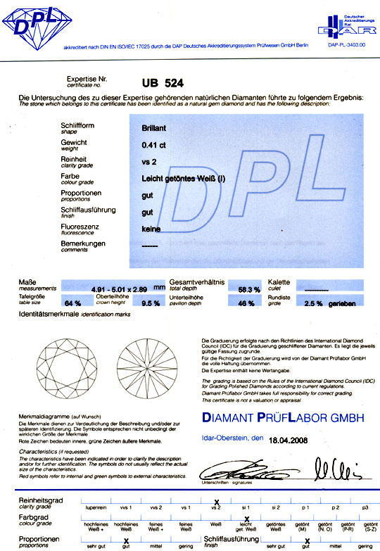 Foto 9, Diamant 0,41 Carat Brilliant DPL VS2 Top Crystal Juwel!, D5112