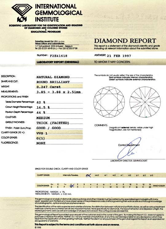 Foto 9, Diamant 0,247ct Brilliant IGI Top Wesselton VVS1 Juwel!, D5114
