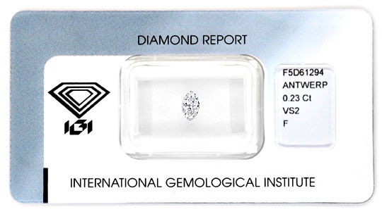 Foto 1, Navette Diamant 0,23ct Top Wesselton Plus VS IGI Juwel!, D5128