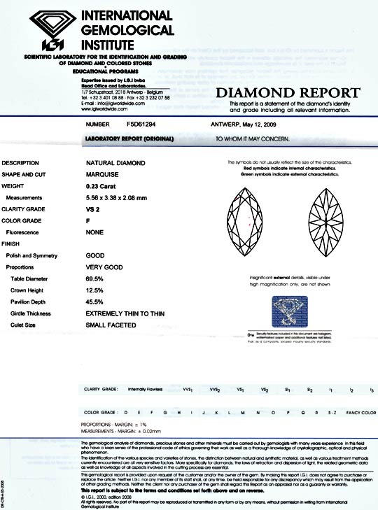 Foto 9, Navette Diamant 0,23ct Top Wesselton Plus VS IGI Juwel!, D5128