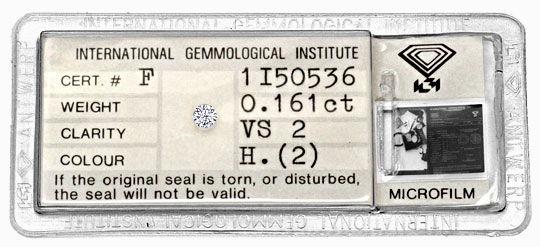 Foto 1 - 0,161 Carat Brillant IGI Wesselton Weiss H, VS2 Diamant, D5134