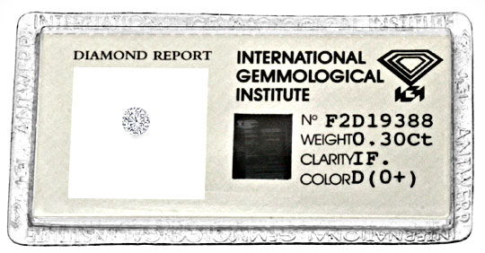 Foto 1, Diamant 0,30ct Brillant IGI Lupenrein River D Brilliant, D5138