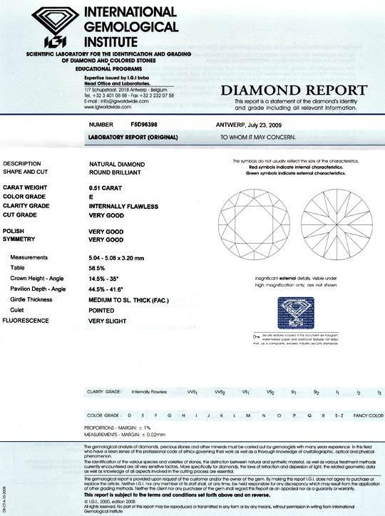 Foto 9 - Diamant 0,51Carat Brillant IGI Lupenrein River VG VG VG, D5141