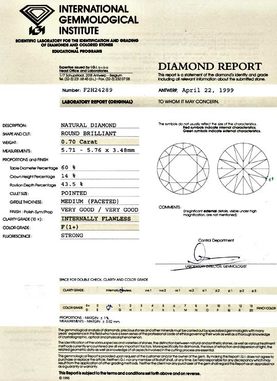 Foto 9, Diamant 0,7ct Brillant IGI Lupenrein Top Wesselton Plus, D5142